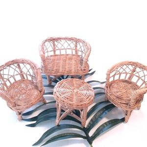 VINTAGE WICKER MINI CHAIRS AND BENCH SET